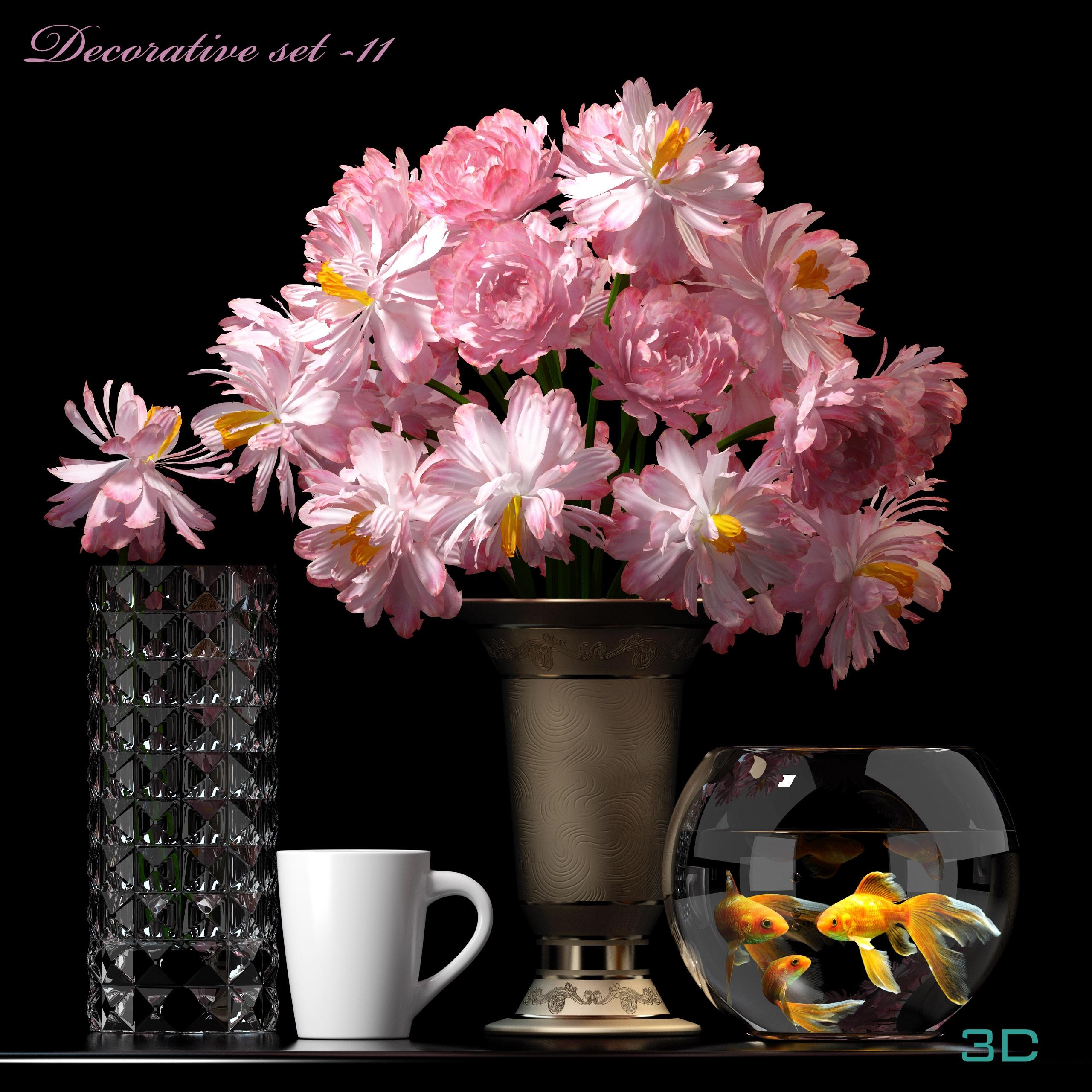 Flower set 3d models 3d mili download 3d model free for Decoration 3d model free download