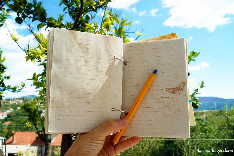 Блокнот для записей на фоне черногорского пейзажа