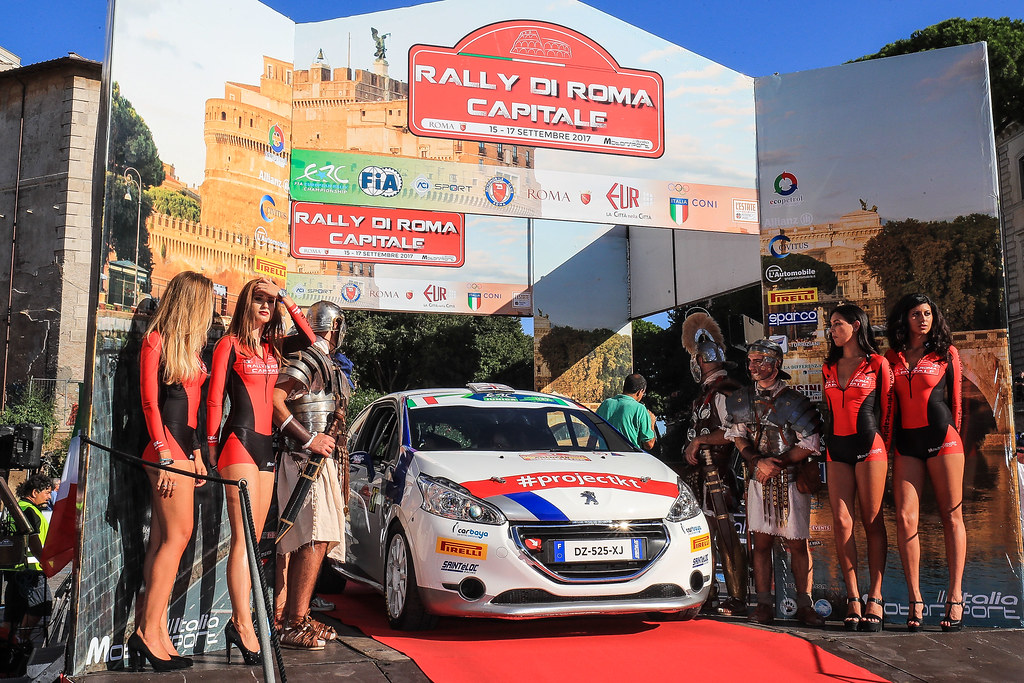 37 MUNNINGS Catie (GBR) STEIN Anne Katharina (AUT) Peugeot 208 R2 start during the 2017 European Rally Championship ERC Rally di Roma Capitale,  from september 15 to 17 , at Fiuggi, Italia - Photo Jorge Cunha / DPPI
