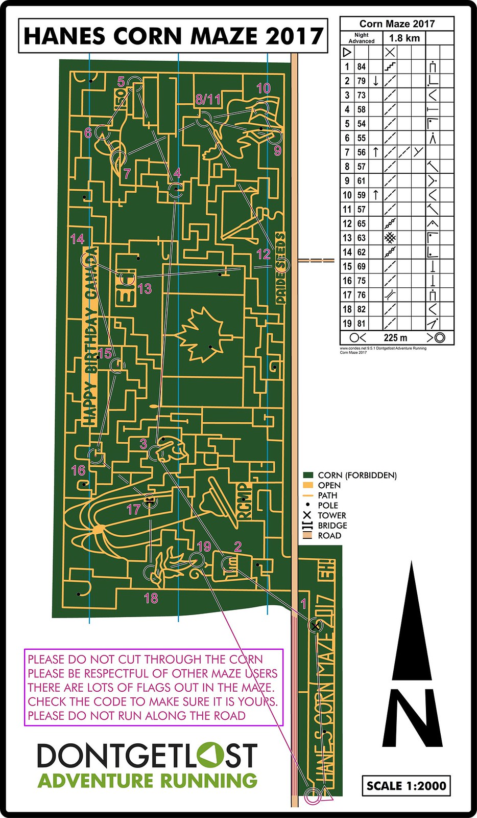 Night Advanced Corn Maze 2017 Map