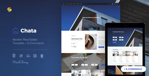 Chata v1.0 – Modern Real Estate / Architecture Template + E-Commerce