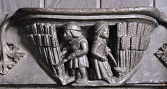 Ripple, Worcestershire, St. Mary's church, stalls, misericords, north side, August:  reaping