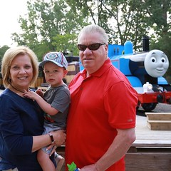 My parents took Charles to meet/ride Thomas.
