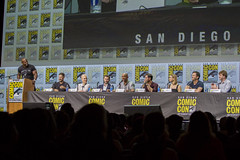 Moderator Terry Crews, David Ayer, Noomi Rapace, Joel Edgerton, Will Smith, Edgar Ramirez, Lucy Fry, Eric Newman and Bryan Unkeless.