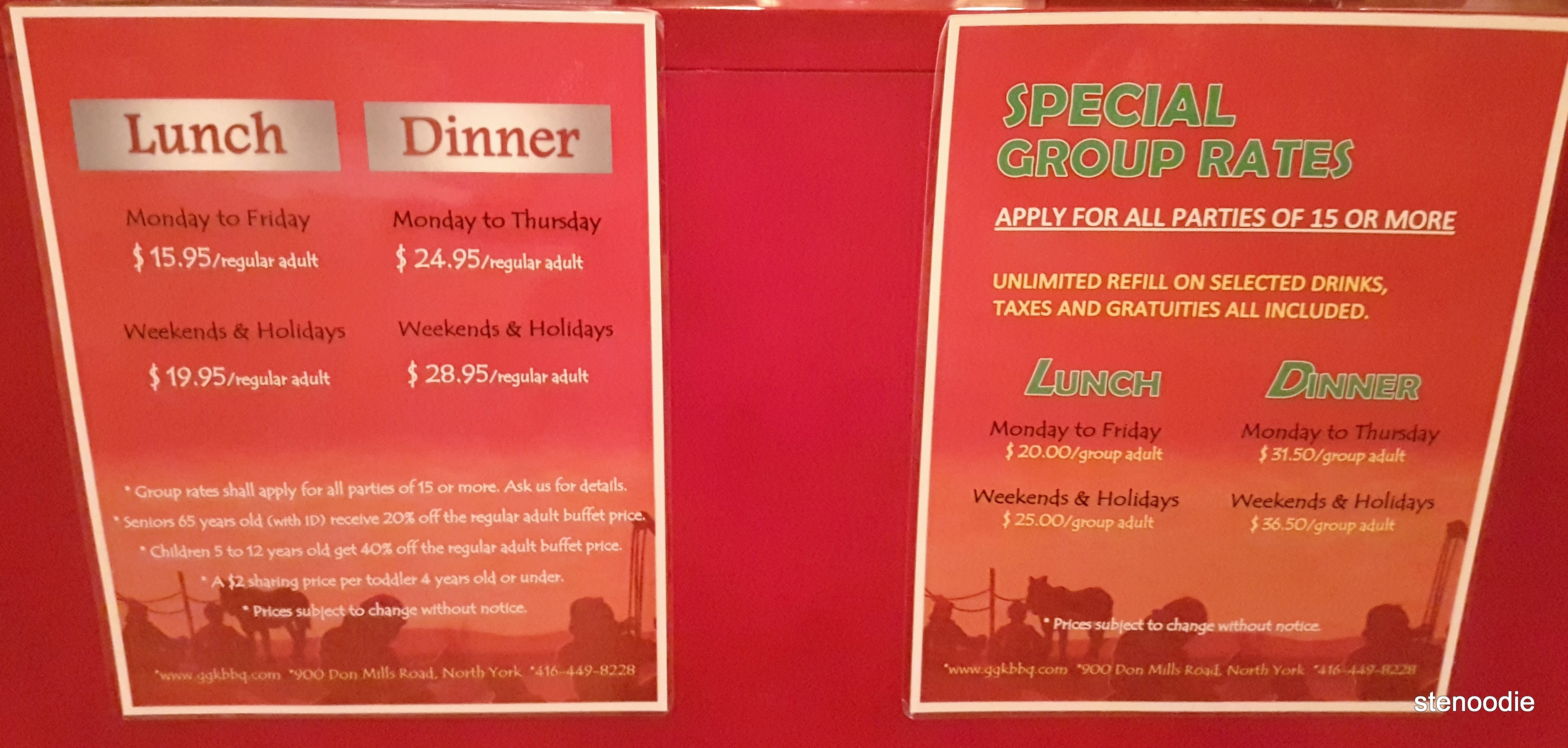 Genghis Khan Mongolian Grill buffet lunch and dinner prices