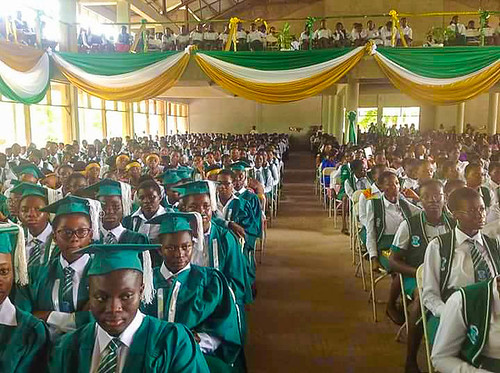 The students of St Louis Senior High School Kumasi, Ghana, at the annual Speech and Prize giving day