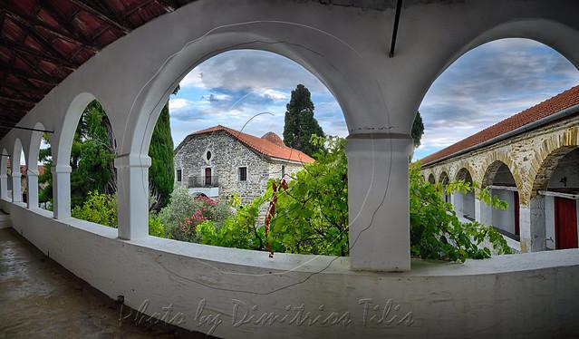 Ιερά Μονή Ευαγγελιστρίας Παλαιό Τρίκερι Holy Monastery of Annunciation Ancient Trikeri panorama