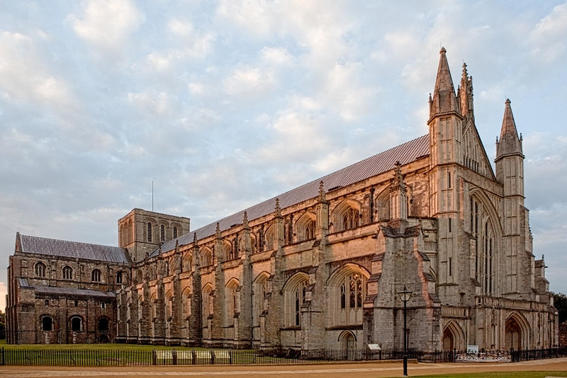 Winchester Cathedral showing west end, central tower and longest Gothic cathedral nave in Europe. Credit WyrdLight.com