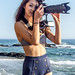 Bikini Swimsuit Model Shooting Simultaneous Stills & Video with a Nikon D800 E & Camcorder by 45SURF Hero's Odyssey Mythology Landscapes & Godde