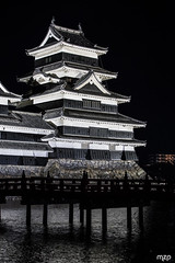 Matsumoto castle, at night.