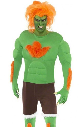 NEW Smiffys Mens Street Fighter - Blanka Halloween Male Scary ...