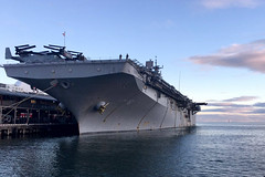 USS Bonhomme Richard (LHD 6) sits along the pier in Melbourne after arriving for a port visit, Aug. 28. (U.S. Navy photo)