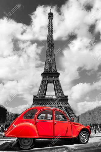 Eiffel-Tower-with-old-retro-car-in-Paris