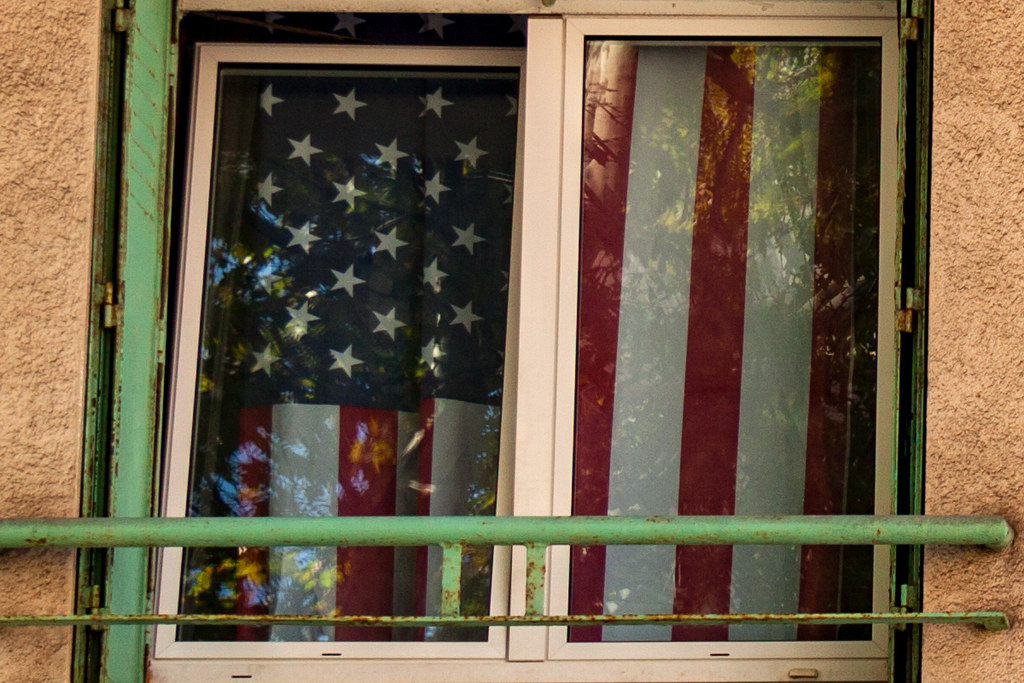 American flag in window--Marseille (detail)