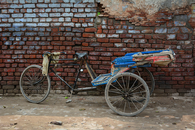 Rickshaw parking on street in Amritsar, India