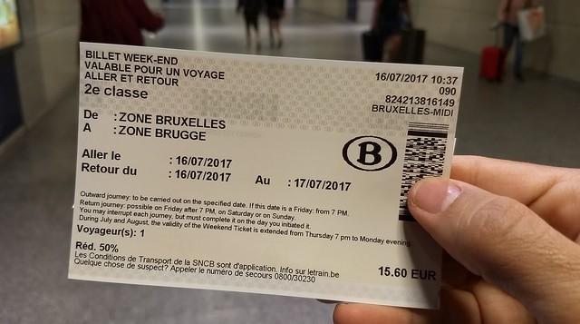 Belgian rail ticket: Brussels to Brugge
