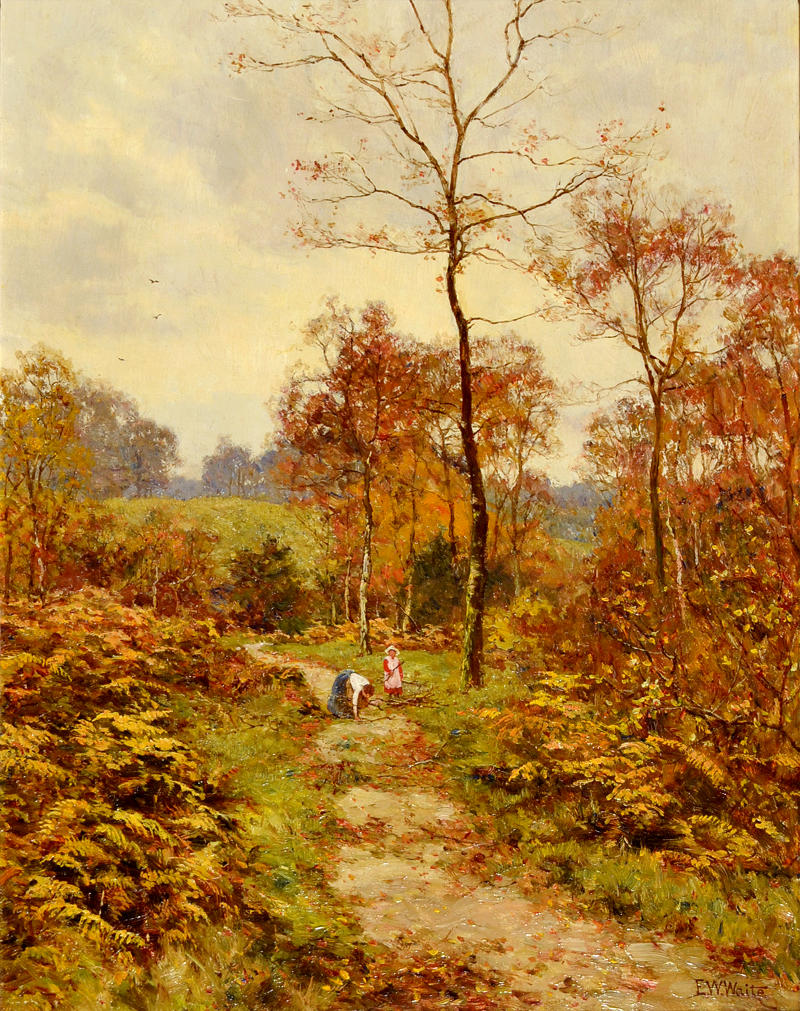 A Woodland Path in Autumn by Edward Wilkins Waite, 1918
