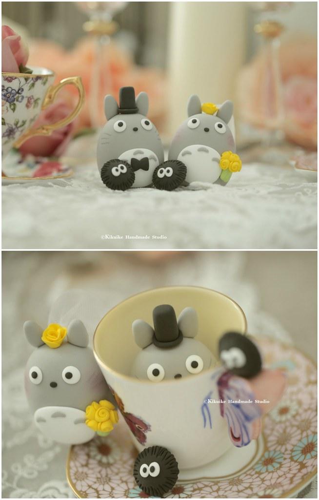 Totoro Bride And Groom And Little ススワタリ Custom Wedding Cak