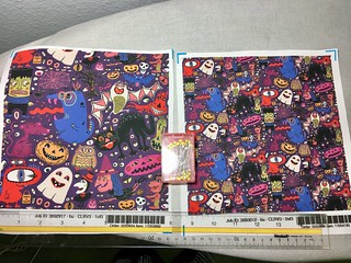 """Yay For Halloween!"", large & small scale fabric test swatches. My original design. Available as fabric, wallpaper & gift wrap. https://www.spoonflower.com/fabric/6760403-yay-halloween-large-scale-by-amy_g."