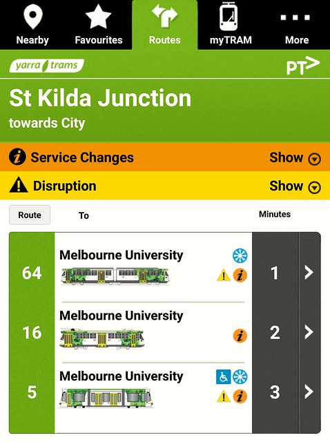 Tram Tracker showing St Kilda Junction departures