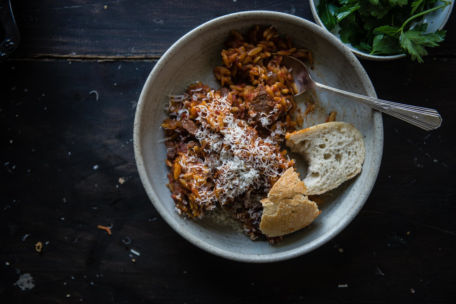braised beef and orzo | two red bowls