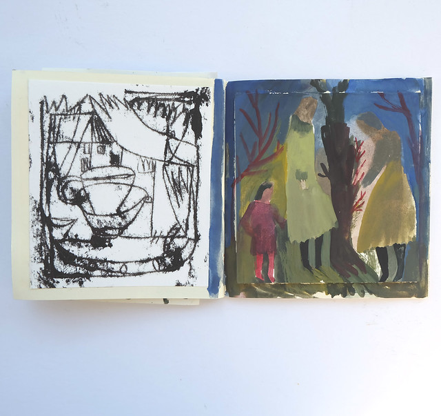 tiny book -  monoprint and gouache