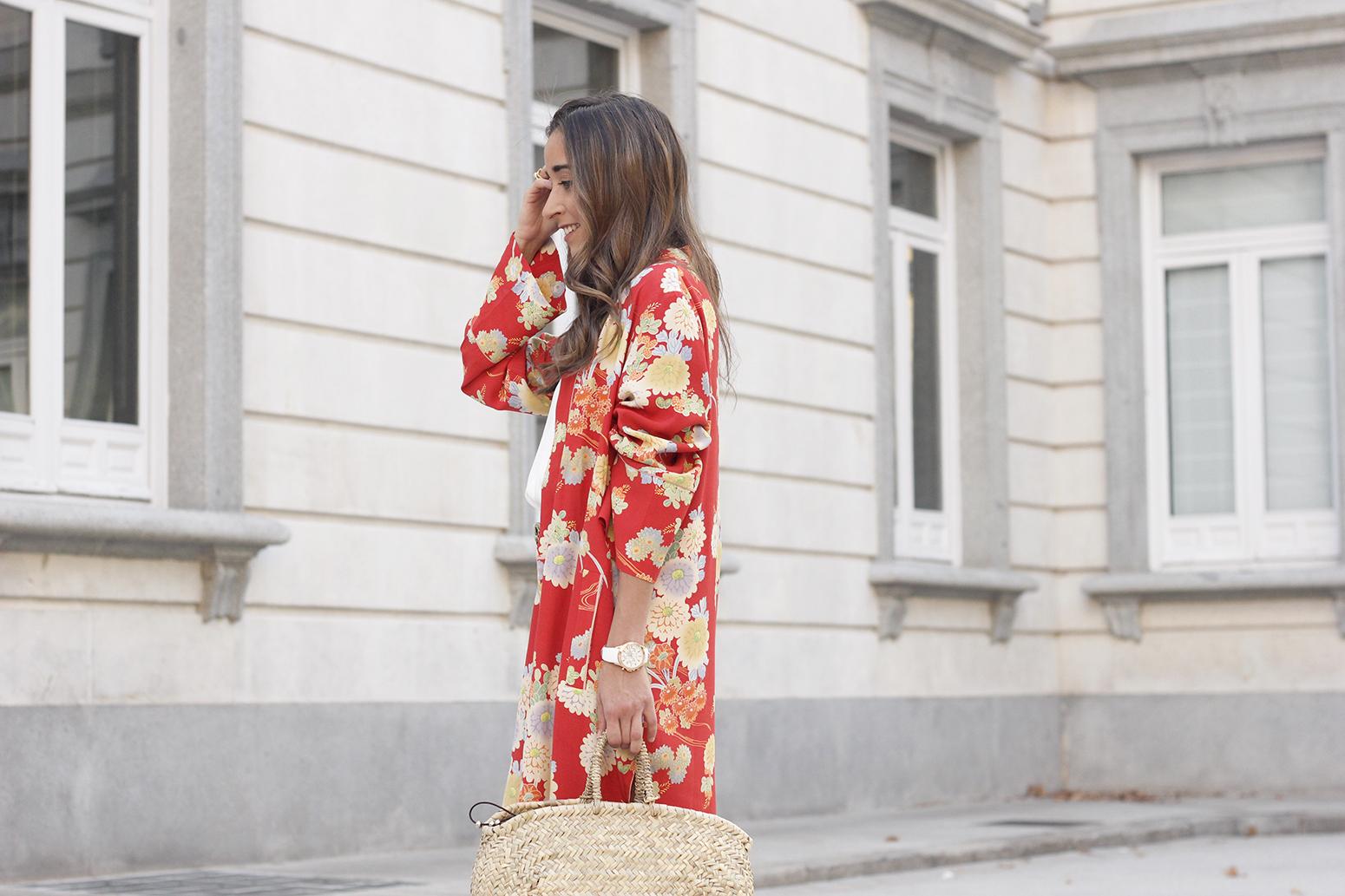 Flowered maxi kimono denim short heels summer girl style fashion09
