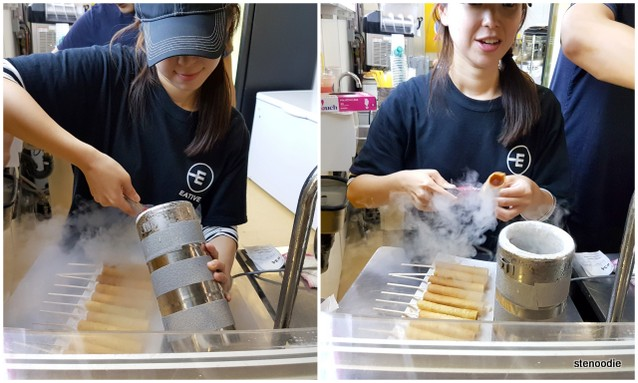 liquid nitrogen cream-filled spring rolls
