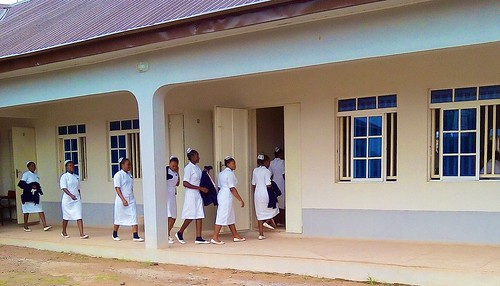 Students entering their class rooms