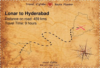 Map from Lonar to Hyderabad