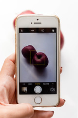 Women takes photo of apples with smart phone