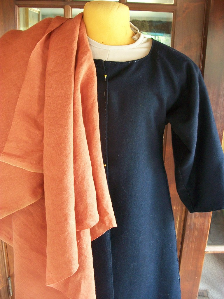 bedgown with orange linen