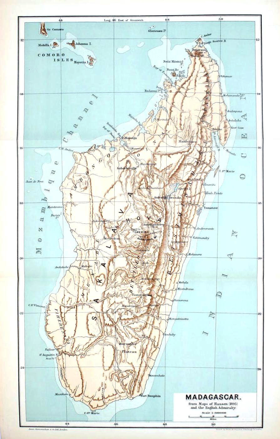 Map of Madagascar in 1895