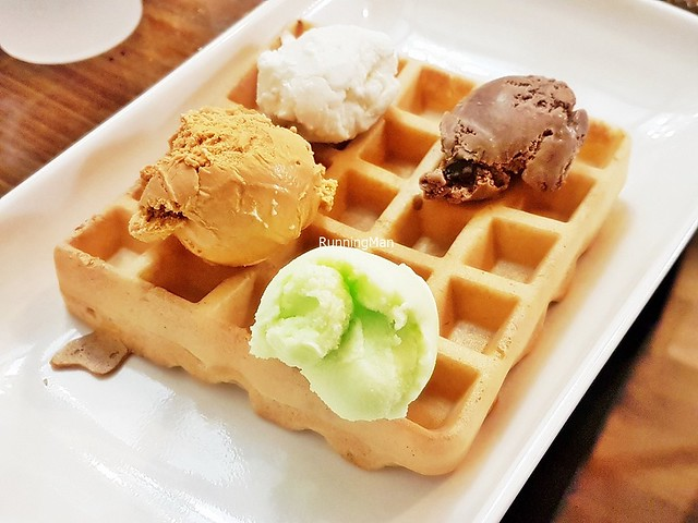 Waffle, Ice Cream - Thai Milk Tea, Vanilla, Chocolate, Lime Sorbet