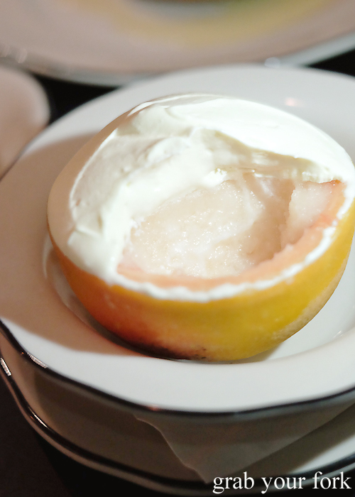Grapefruit sorbet with Amaro cream at Porteno in Surry Hills
