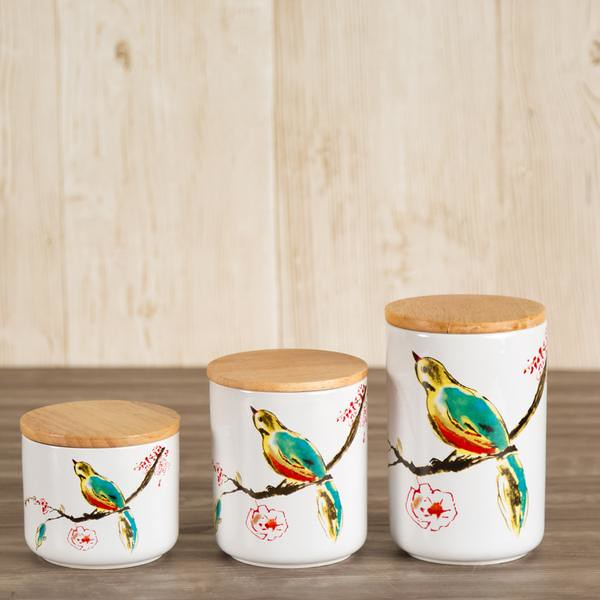 bird ceramic canisters
