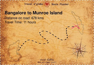 Map from Bangalore to Munroe Island