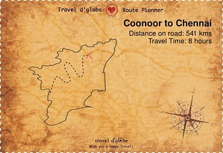 Map from Coonoor to Chennai