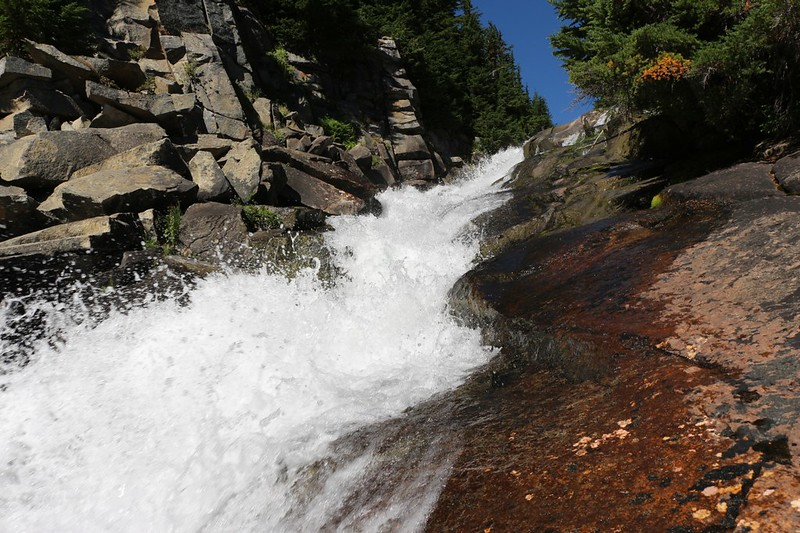 The water was racing down the waterfall on Railroad Creek below Lyman Lake