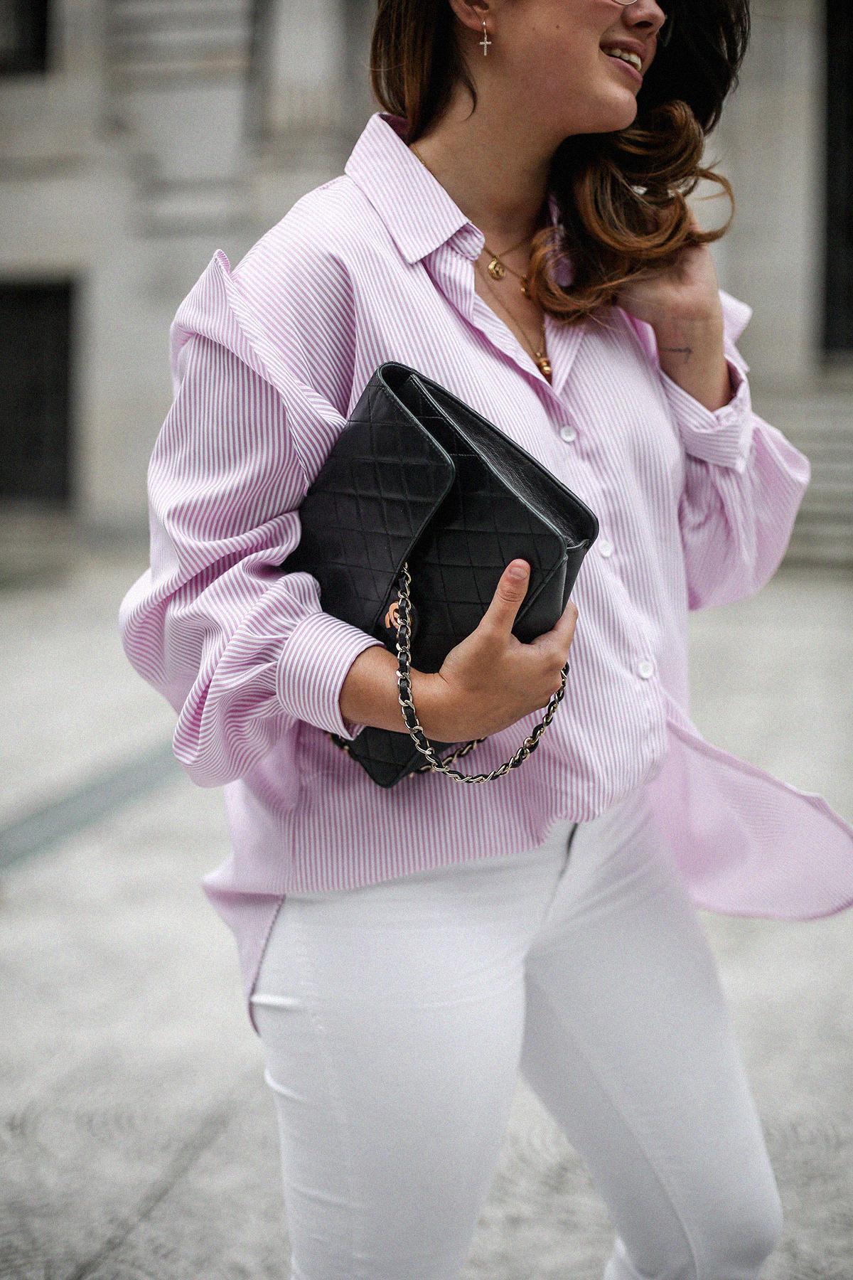 camisa rayas rosa dias como estos bailarinas lazo negras hm myblueberrynightsblog4