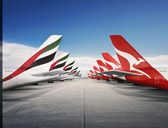 Emirates Qantas tails (Emirates)
