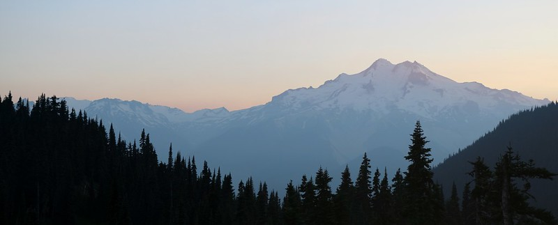 Glacier Peak at sunset from our campsite at Buck Creek Pass