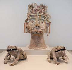 Head of the rain god Tlaloc and two frogs, Mexico, 1300-1500