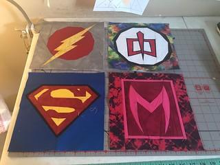 Superheroes: Flash, Greatest American Hero, Superman, Scarlet Witch