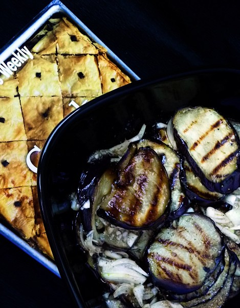 Grilled eggplant with marjoram vinaigrette