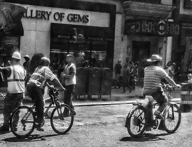 Vintage Looking Photo Bikers On Streets of Manhattan
