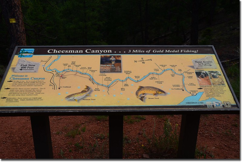 River and fishing informational sign at Cheesman Canyon Trail