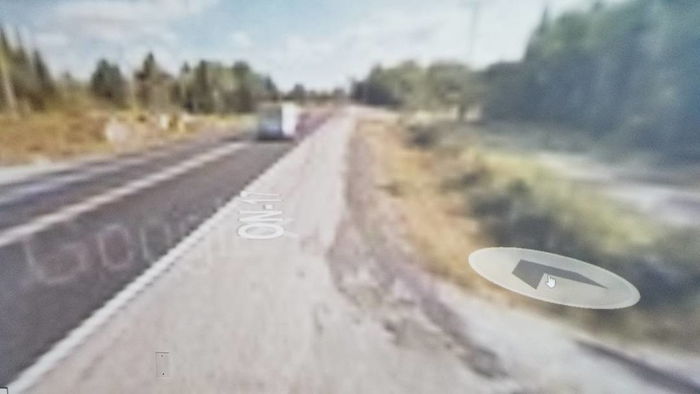 Google watermark branding Ignace. #ridingthroughwalls #xcanadabikeride #googlestreetview #ontario