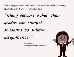 """Educational Postcard: """"Many factors other than grades can compel students to submit  assignments."""""""