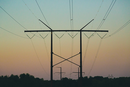 Electrical Power Lines - Sunset